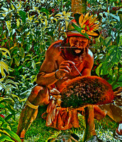 New Guinea Tribesman Prepares Wig for Dance 2
