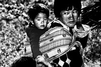 Bhutanese Mother with Child in Wrap