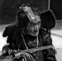 Ladakhi Woman with Bejeweled Head Piece